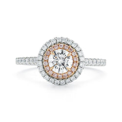 Round Pave Halo Diamond Ring