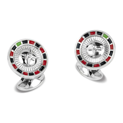 D&F Roulette Wheel Cufflinks with Multicolored Enamel - Jackson Hole Jewelry Company