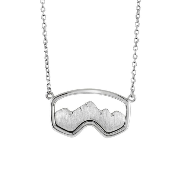 Silver Teton Ski Goggle Necklace