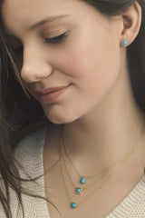 Sleeping Beauty Turquoise Studs with a Diamond Halo - Jackson Hole Jewelry Company