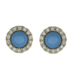 Sleeping Beauty Turquoise Studs with a Diamond Halo