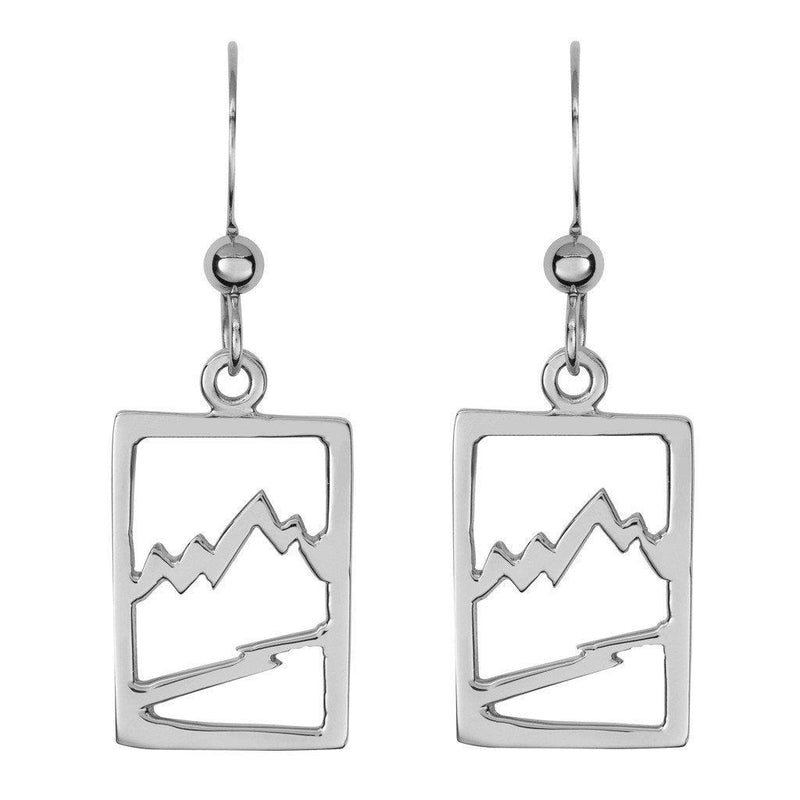 Small 14KY Gold Signature Teton Rectangular Cutout Earrings with Diamonds - Jackson Hole Jewelry Company  - 3