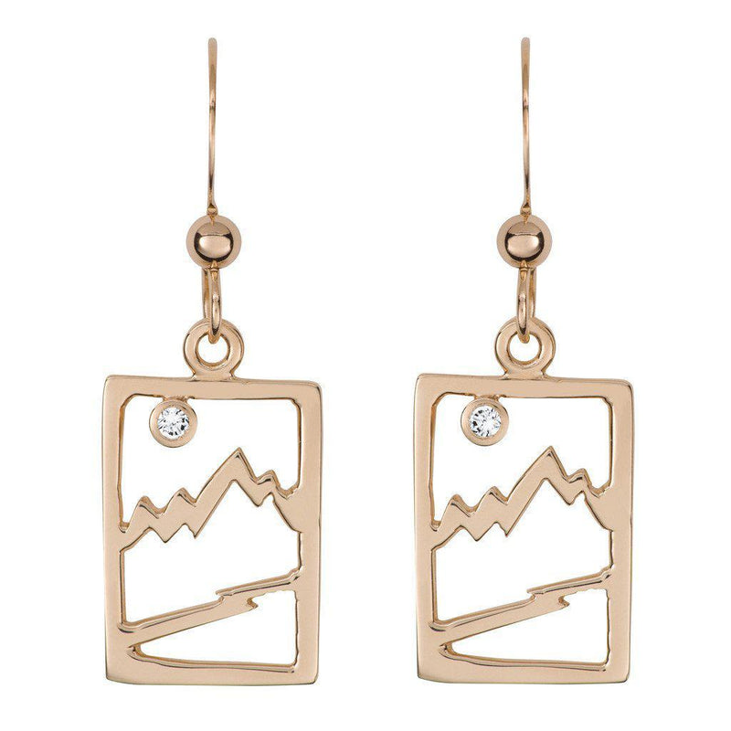 Small 14 Karat Yellow Gold Signature Teton Rectangular Cutout Earrings - Jackson Hole Jewelry Company  - 1