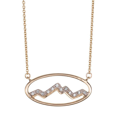 Small 14KY Gold Oval Teton Necklace with Diamonds - Jackson Hole Jewelry Company