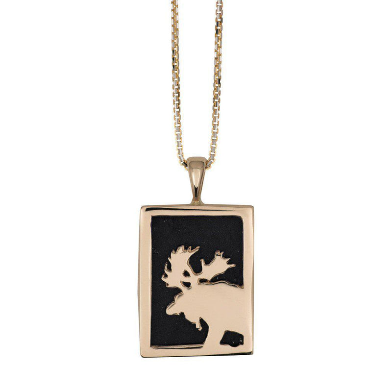Small 14KY Gold Rectangular Onyx Moose Pendant - Jackson Hole Jewelry Company