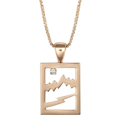 Small 14KY Gold Signature Teton Rectangular Cutout Pendant - Jackson Hole Jewelry Company