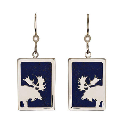 Small Sterling Silver Rectangular Lapis Moose Earrings - Jackson Hole Jewelry Company