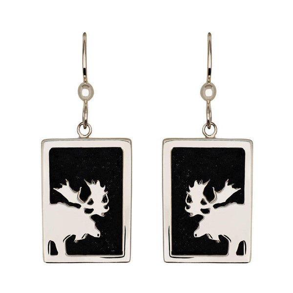 Small Sterling Silver Rectangular Onyx Moose Earrings - Jackson Hole Jewelry Company