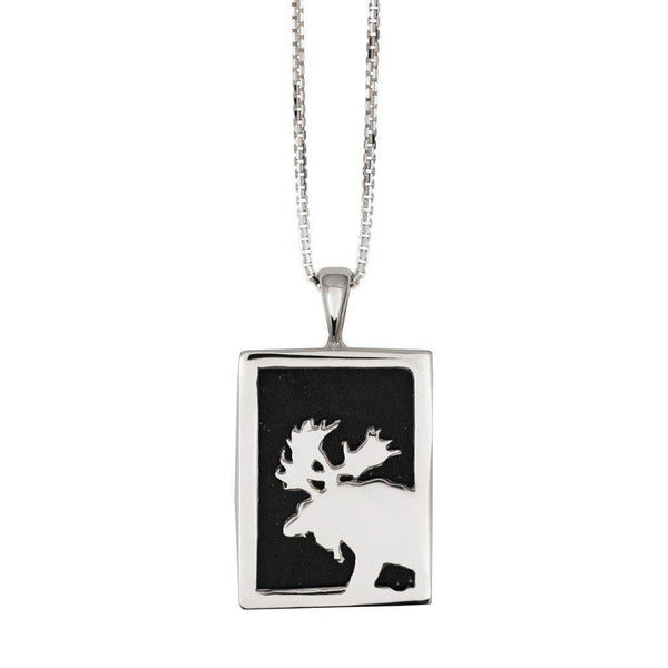 Small Sterling Silver Rectangular Onyx Moose Pendant - Jackson Hole Jewelry Company
