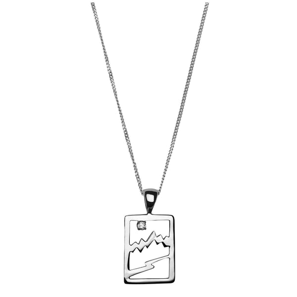 Small Sterling Silver Signature Teton Rectangular Cutout Pendant - Jackson Hole Jewelry Company  - 2