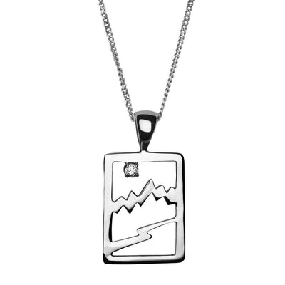 Small Sterling Silver Signature Teton Rectangular Cutout Pendant - Jackson Hole Jewelry Company