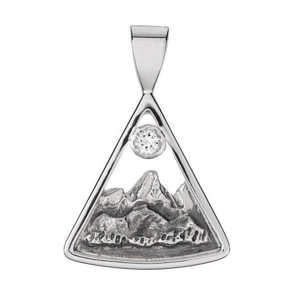 Small Sterling Silver Teton Triangular Pendant with White Sapphire - Jackson Hole Jewelry Company  - 2