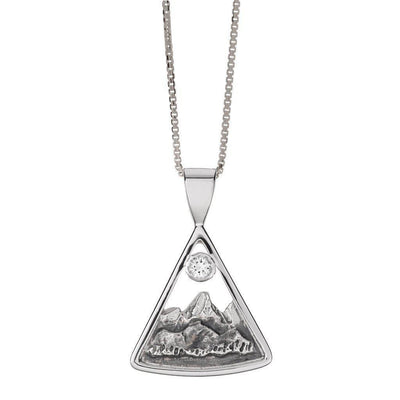 Small Sterling Silver Teton Triangular Pendant with White Sapphire - Jackson Hole Jewelry Company