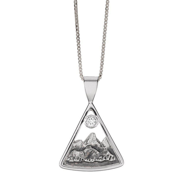 Small Sterling Silver Teton Triangular Pendant with White Sapphire - Jackson Hole Jewelry Company  - 1