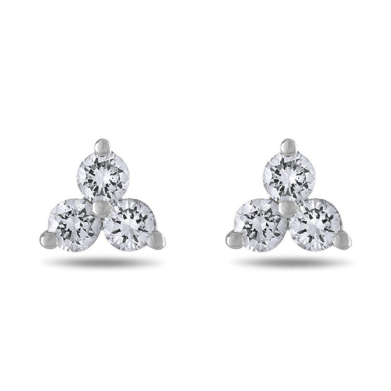 Small Trinity Diamond Stud Earrings