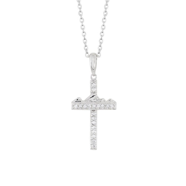 Teton Cross 18K White Gold Diamond Pave
