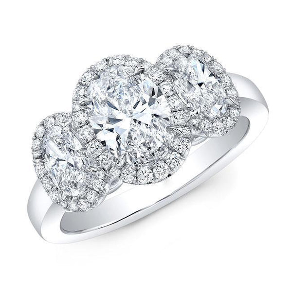 Three Oval Halo Diamond Engagement Ring