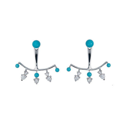 Tiny Turquoise Ear Jacket Earrings - Jackson Hole Jewelry Company
