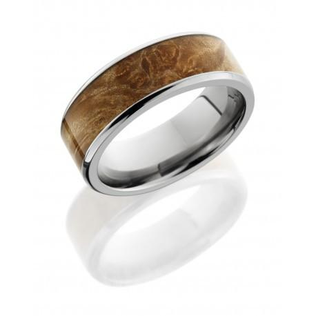 Titanium 8mm Flat Band with Beveled Edges and 6mm Maple Burl Wood inlay