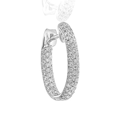 White Diamond Hoop Earrings - Jackson Hole Jewelry Company