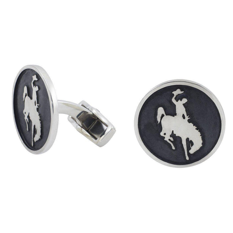 Wyoming Bronco Silver Cuff Links