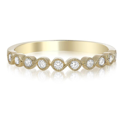 Yellow Gold Milgrain Diamond Ring - Jackson Hole Jewelry Company