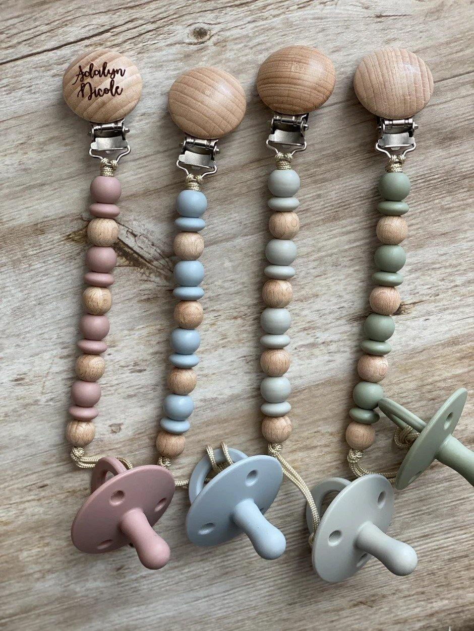 Personalized Wooden Bead Pacifier Clip - Betsy Jane Studios