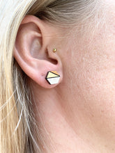 Load image into Gallery viewer, Geometric Earrings | Baby Pink and Walnut | Small - Betsy Jane Studios