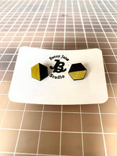 Load image into Gallery viewer, Geometric Earrings | Black and Yellow | Large - Betsy Jane Studios