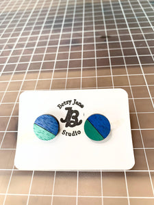 Geometric Earrings | Green and Blue | X-Large - Betsy Jane Studios