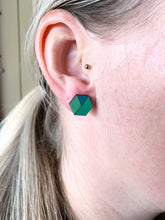 Load image into Gallery viewer, Geometric Earrings | Triple Tone Green | Large - Betsy Jane Studios