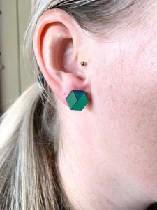 Geometric Earrings | Triple Tone Green | Large - Betsy Jane Studios
