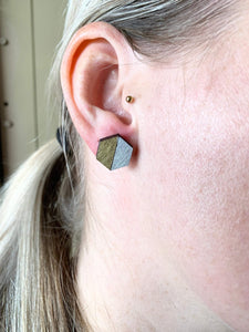 Geometric Earrings | Mauve Gold Walnut | X-Large - Betsy Jane Studios