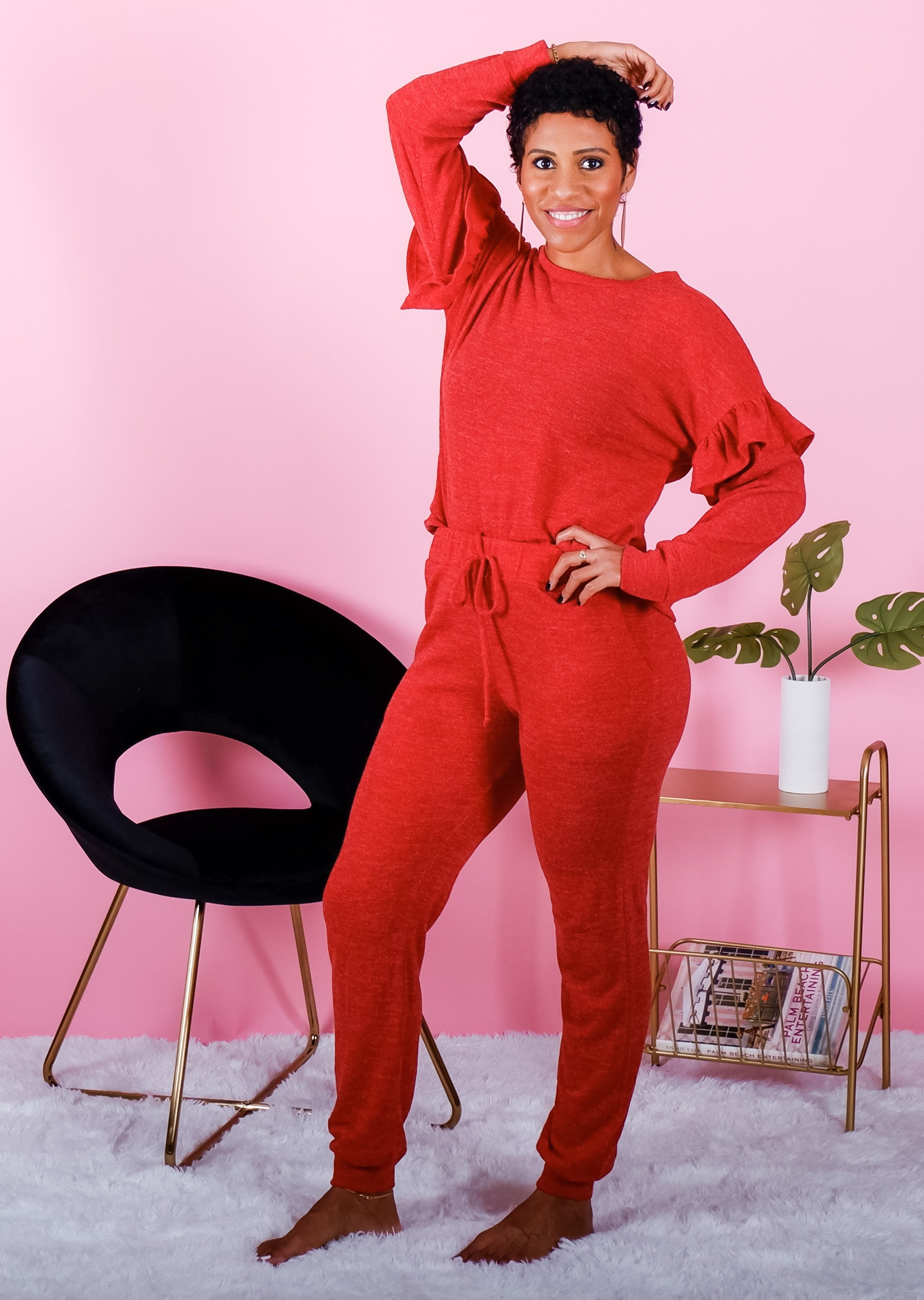 Soft Red Ruffle Long Sleeve Top