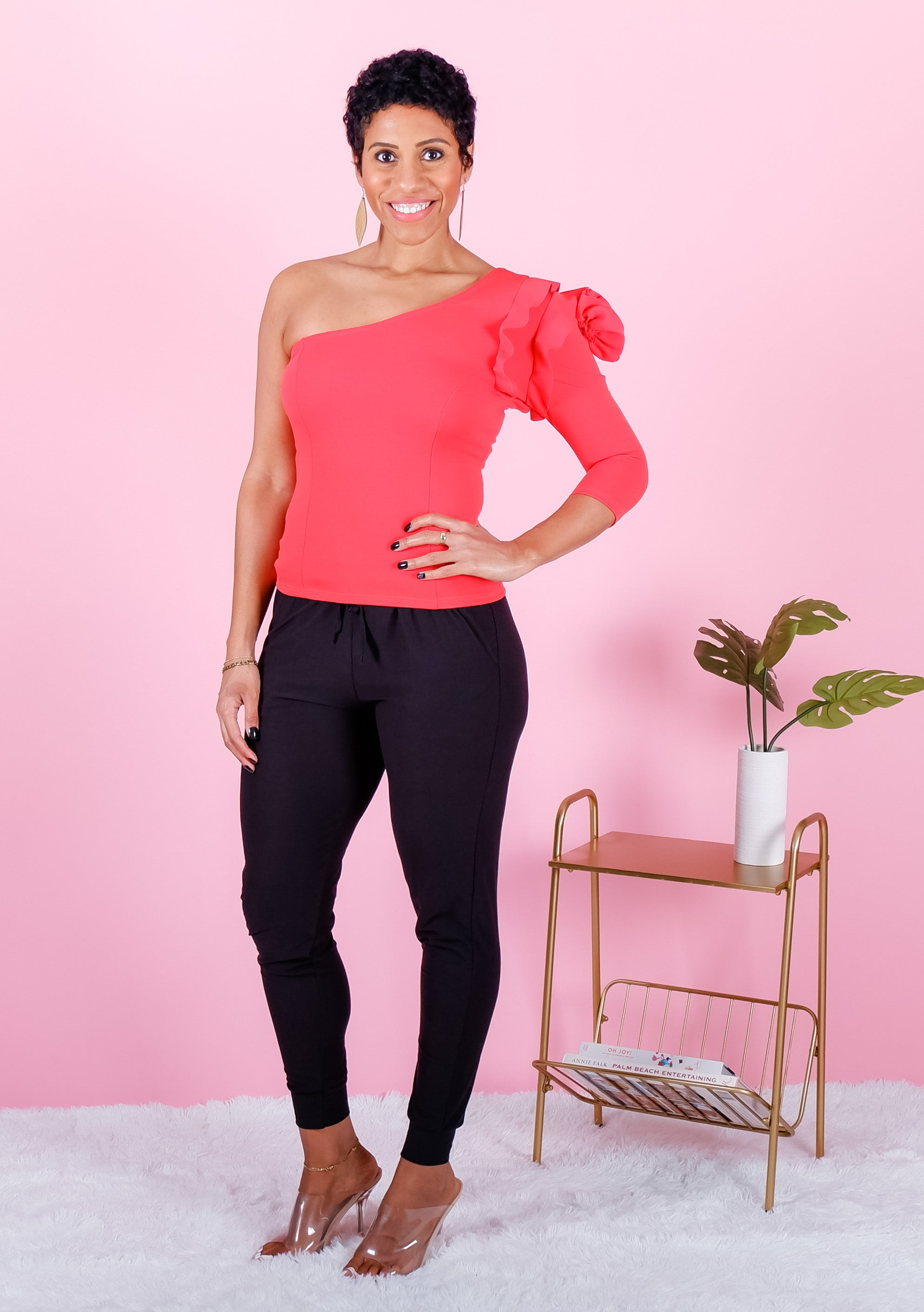 Red One Shoulder Flower Patch Top
