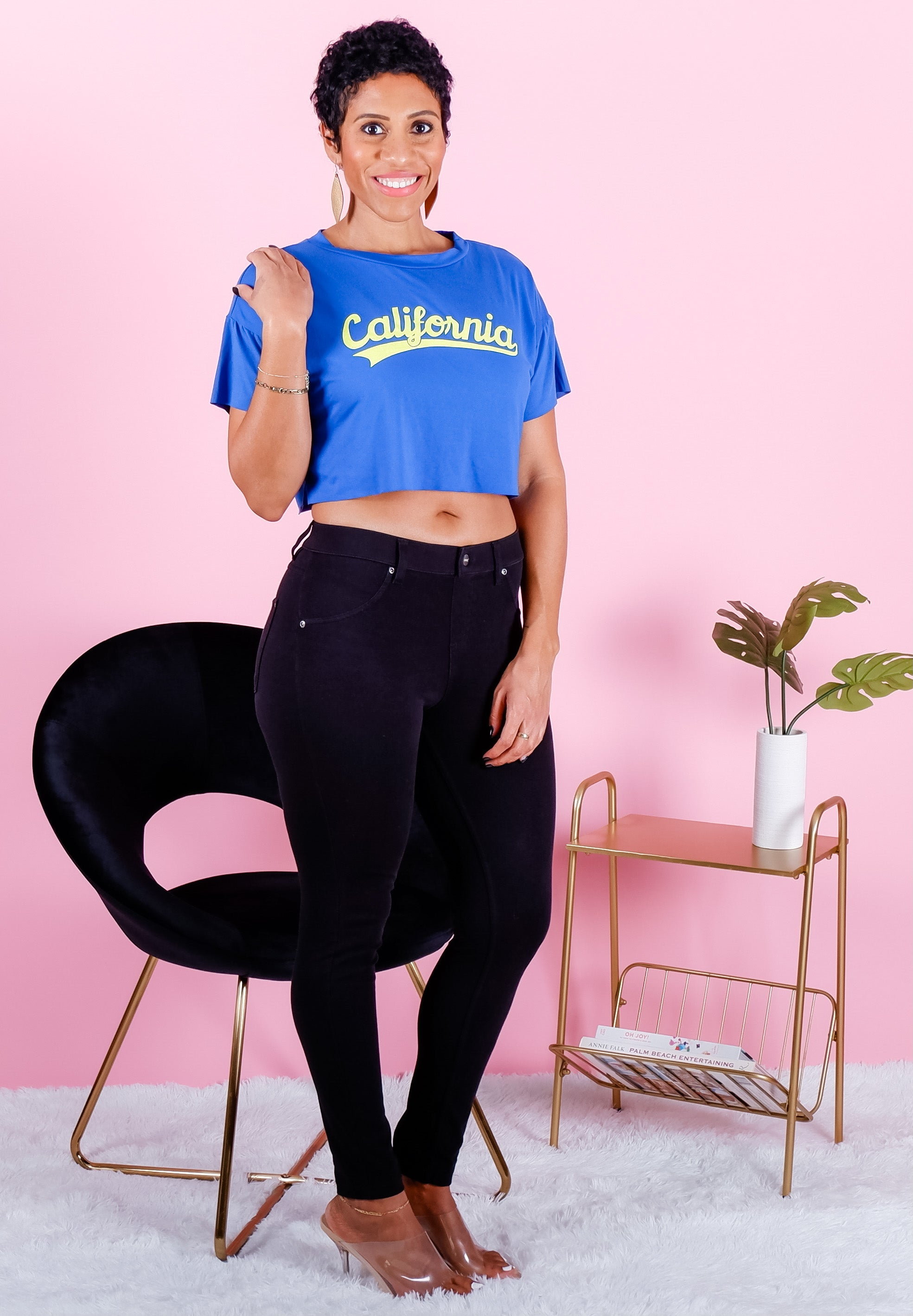 BLUE CALIFORNIA CROPPED GRAPHIC TEE