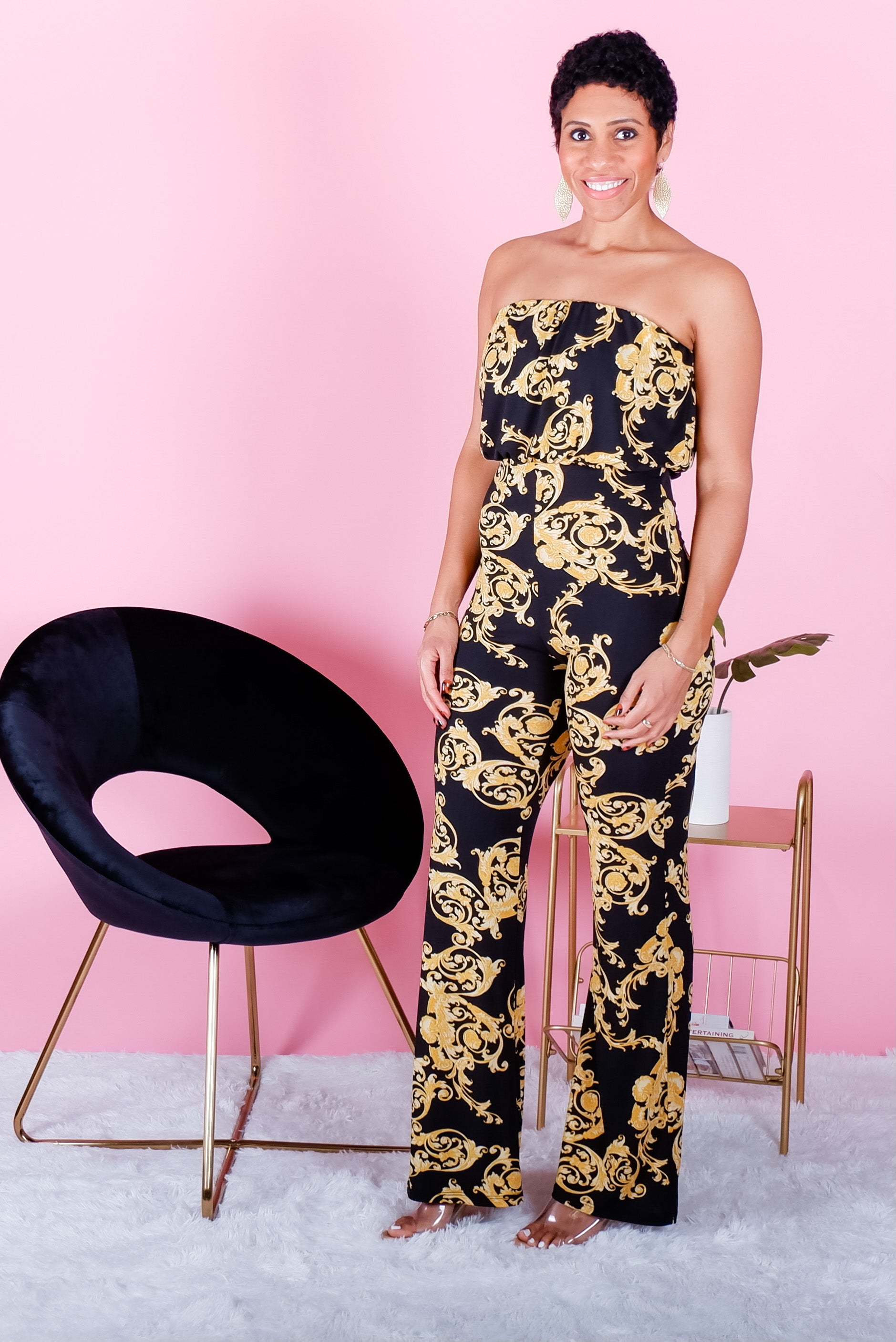 Black & Gold Leaf Print Jumpsuit