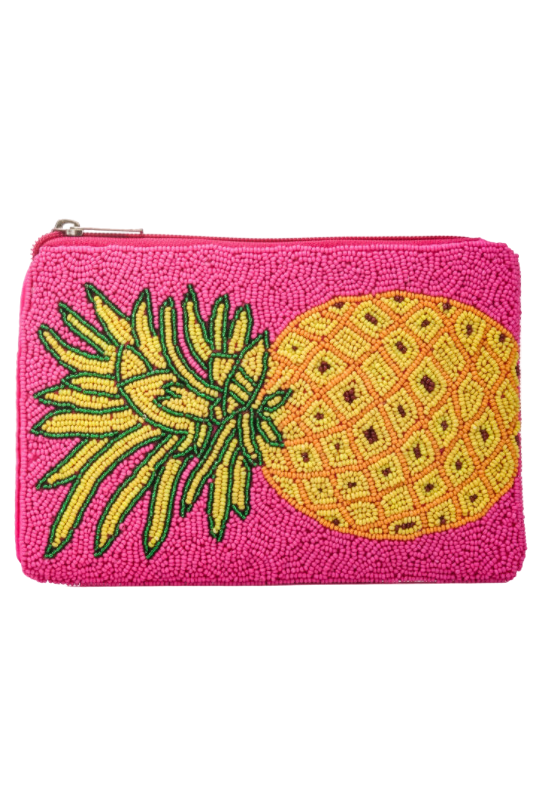 PINK PINEAPPLE BEADED CLUTCH PURSE