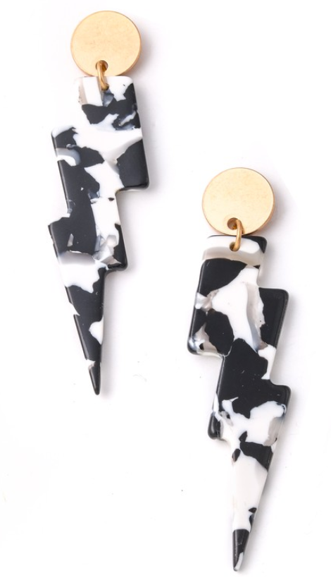 BLACK + WHITE ACETATE LIGHTNING BOLT EARRINGS