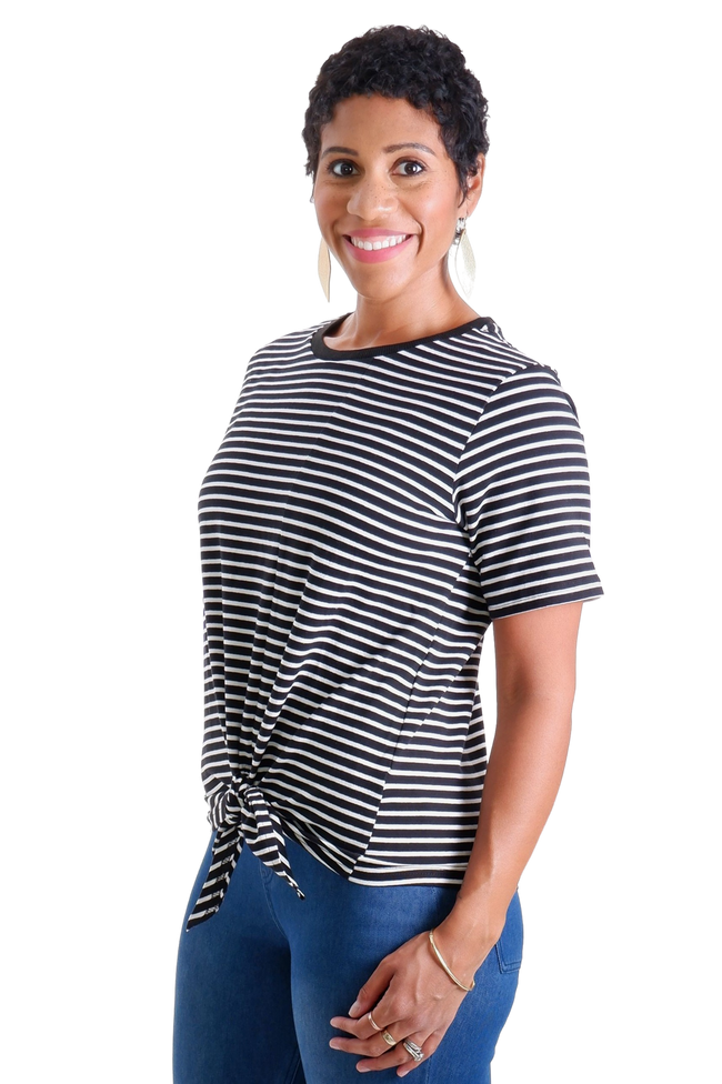 BLACK AND WHITE STRIPED BASIC TEE WITH FRONT TIE