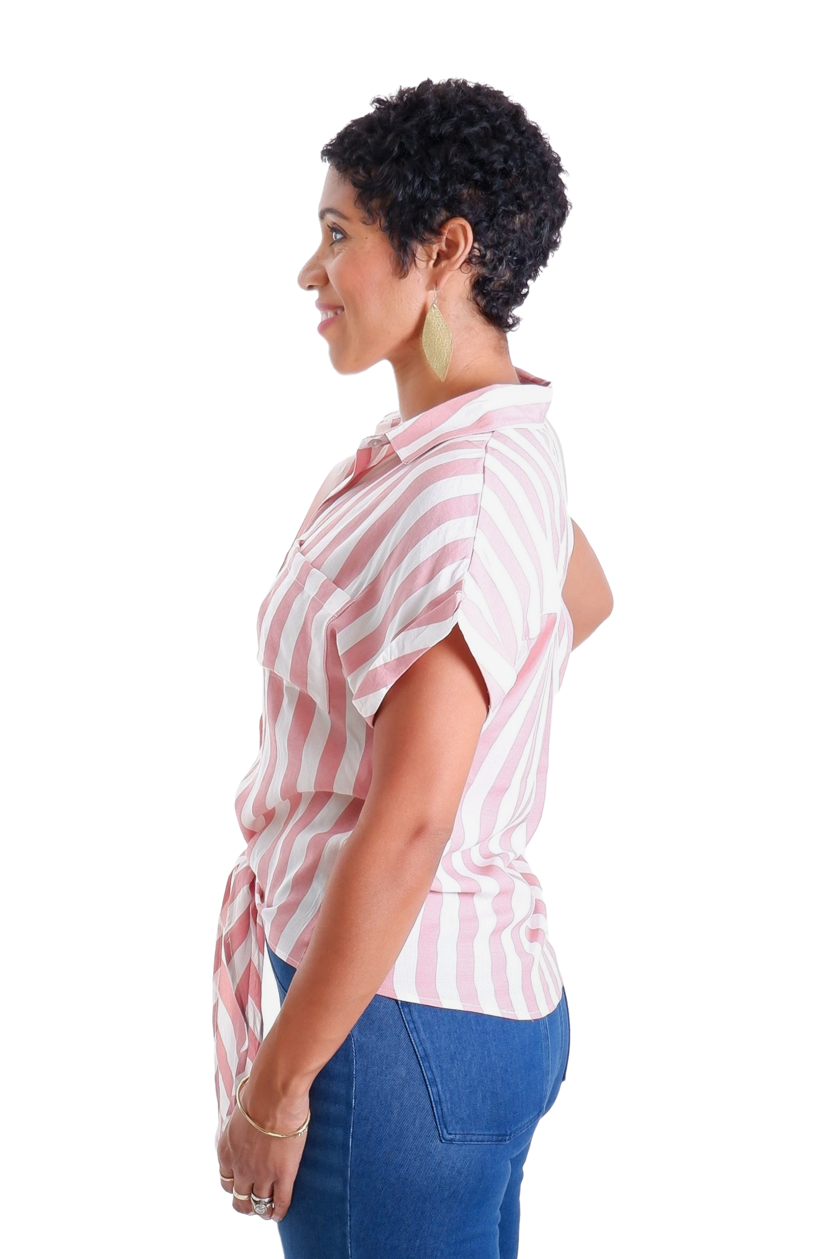 PINK AND WHITE STRIPE TIE-FRONT SHIRT