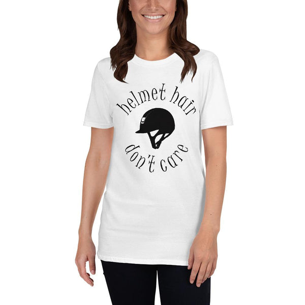 Helmet hair , Don't care  Unisex T-Shirt - HorseObox
