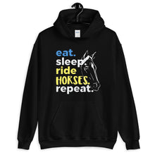 Load image into Gallery viewer, Eat, sleep, Ride Horses Unisex Hoodie - HorseObox