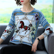 Load image into Gallery viewer, Horse Printed Pullovers Women O-Neck Sweater