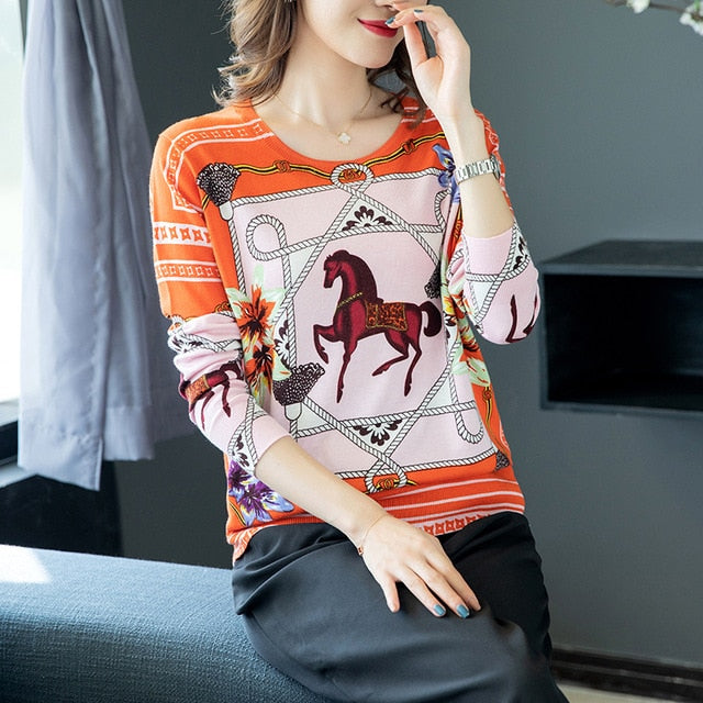 Horse Printed Pullovers Women O-Neck Sweater