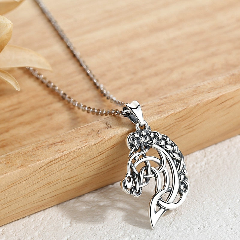 Celtics Knot Spirit Horse Head Necklace