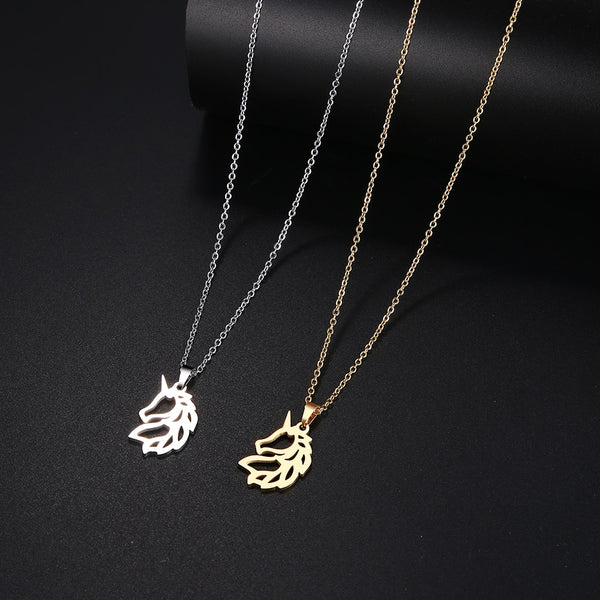 Noble Horse Gold And Silver Color Pendant Necklace