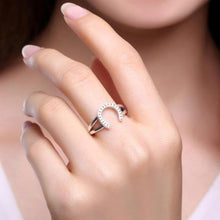 Load image into Gallery viewer, 925 Sterling Silver Horseshoe U Shape Adjustable Ring