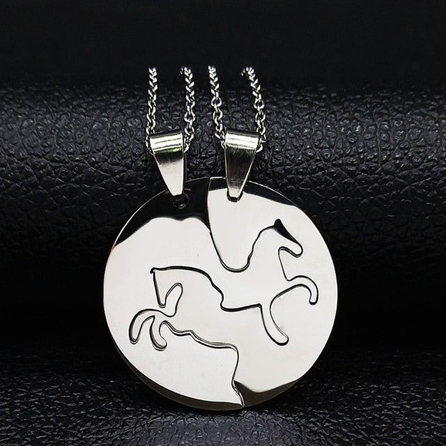 Women Silver Color Couple Necklace Jewelry