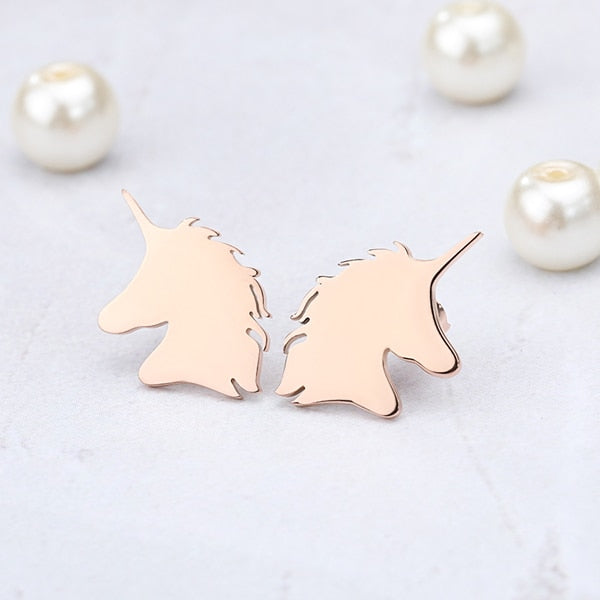 Horse Horn Brincos Rose Gold Unicorn Stud Earrings